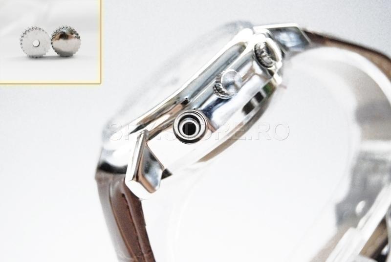 Camera camuflata in ceas de mana cu bratara de piele